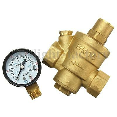 DN15 1/2'' Bspp Brass Water Pressure Reducing Valve With Gauge Flow Adjustable