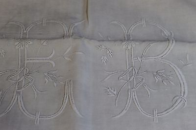Antique French Pure Linen monogrammed Vintage EB or for quilt