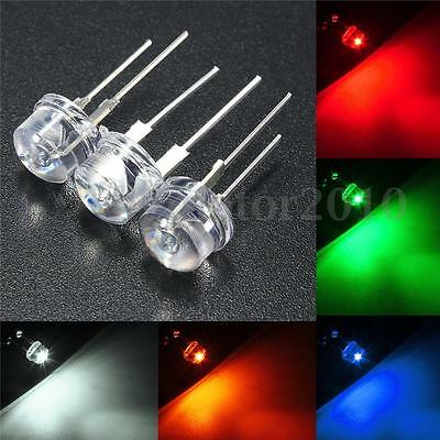 New 20X 8mm Straw Hat LED Bright 0.5W 5 Colors Light Emitting Diode DIY Lamp US