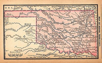 RARE Antique INDIAN TERRITORY Map 1886 RARE MINIATURE Vintage Oklahoma Map #3098