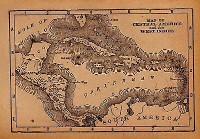RARE Antique CARIBBEAN Map West Indies Map 1911 RARE MINIATURE Vintage Map #3107