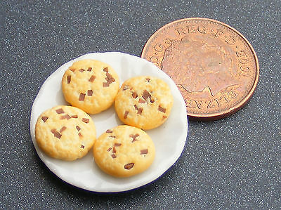 1:12 Biscuits (4) On A Ceramic Plate Dolls House Miniature Accessory PB1