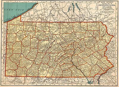 1938 PENNSYLVANIA Map  Vintage State Map of PENNSYLVANIA Gallery Wall Art 3120