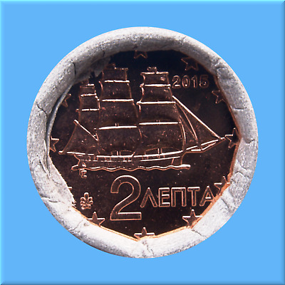 2   Euro - Cent - Rolle - Münzrolle - Griechenland 2015