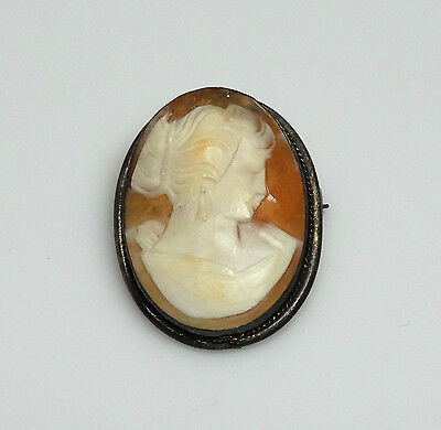ELEGANT Vintage Carved Genuine Shell Cameo Victorian Lady Brooch/Pendant- SIGNED