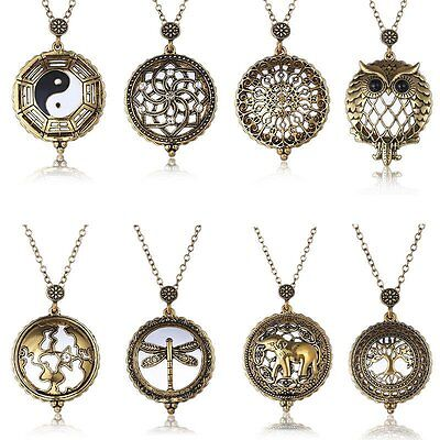 Free box Vintage Chain Magnifying Glass Hot Necklace Pendant Grandma Gift