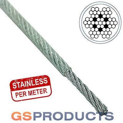 1.5-2mm CLEAR PVC Covered Stainless Steel Wire Rope 7x7 (Price per Metre)