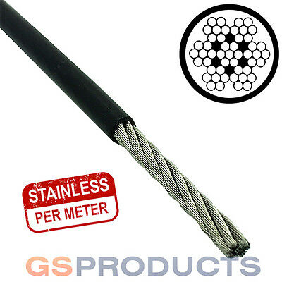 1.5-2mm BLACK PVC Covered Stainless Steel Wire Rope Cable 7x7 (Price per Metre)
