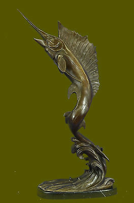 Handcrafted Vintage Signed Original Williams Bronze Marlin Sailfish Statue