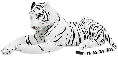 Extra Large Giant Plush Lying Tiger Soft Toy With Noise ~ White