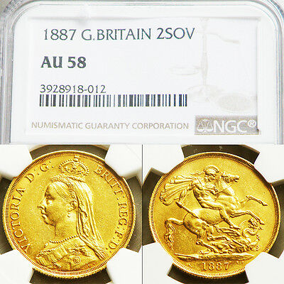 QUEEN VICTORIA 1887 GOLD 2 POUND SOVEREIGN ...NGC AU 58 Nr Mint Condition