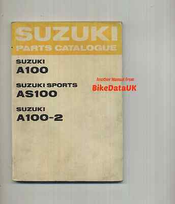 Suzuki A100 AS100 A100-2 (1967-1970) Illustrated Parts List Catalogue AS A 100