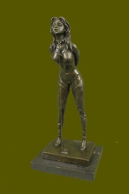 Handcrafted BONDAGE GIRL NUDE BRONZE SCULPTURE STATUE ART FIGURE FIGURINE GIFT