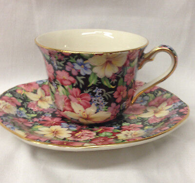 Royal Winton 1995 Earthenware Florence Cup & Saucer 6 Oz Floral Chintz On Black