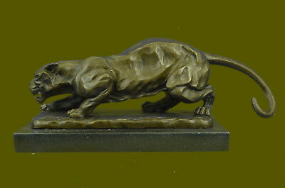 Handcrafted LARGE BRONZE SCULPTURE LION PANTHER TIGER PUMA COUGAR STATUE ART