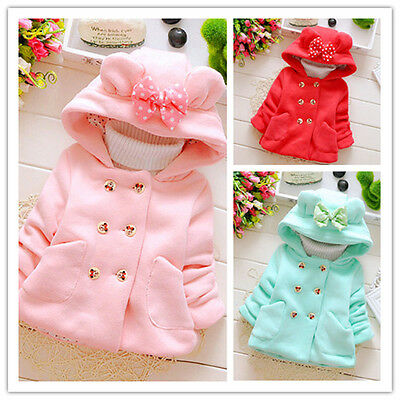 Toddler Baby Girls Warm Button Hooded Coat Outerwear Jacket Autum Winter Clothes