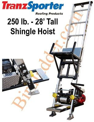 TranzSporter TP-250 Roofing Shingle Hoist 28' Tall 250 lb - 4.0 Lifan Gas Motor