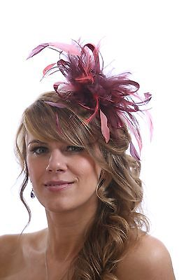 Burgundy Wine & Coral Pink Fascinator Hat/any satin/highlight feather colour