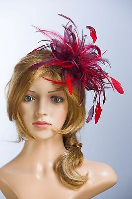 Burgundy Wine & Red Fascinator Hat/any satin/highlight feather colour