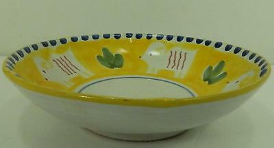 Vietri Solimene Campagna Pottery Serving Bowl Ram Montone Yellow Italy 12.5""