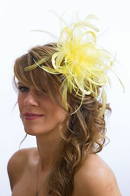 Pale Yellow  Fascinator Hat/any satin/highlight feather colour