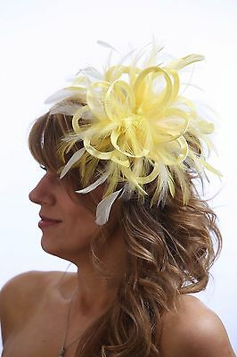 Pale Yellow & white  Fascinator Hat/any satin/highlight feather colour