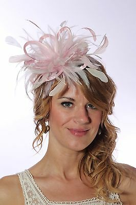 Baby Pink & Ivory Fascinator Hat/any satin/highlight feather colour