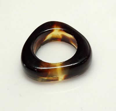 MOD 1960's Vintage Tortoise Lucite Triangle RING- Sz 7- Made in France- ESTATE