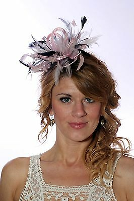 Baby Pink & Navy Fascinator Hat/any satin/highlight feather colour