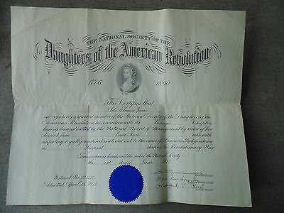 1933 Daughters of the American Revolution Certificate Related to Isaac Rose