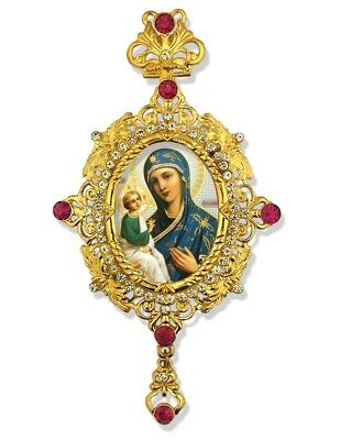 Russian Icon Pendant Madonna and Child Jesus Christ Virgin of Jerusalem Icon WOW