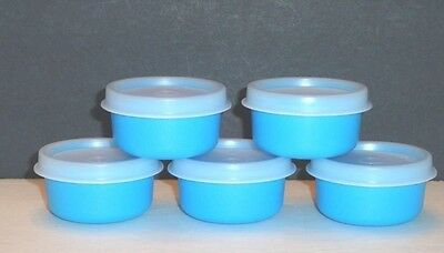 Tupperware Smidgets Containers x 5 Mayo, Salad Dressing, Beads Raindrop Blue New