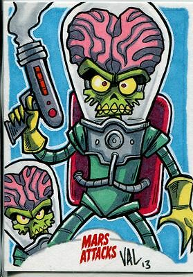Mars Attacks Invasion Sketch Card By Val Hochberg