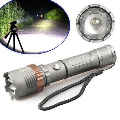 Police Tactical XM-L T6 10000LM Rechargeable LED Flashlight Heavy Duty Zoom