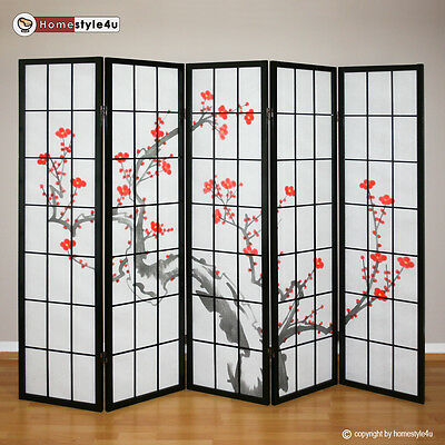 5 part Paravent Room Divider Wall Shoji Screen Partition cherry NEW