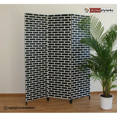 3 part Wicker Room Divider Screen in black-white Paravent
