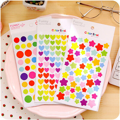 6 Sheets Colorful Rainbow Sticker Diary Journal Scrapbook Albums Photo DIY CA