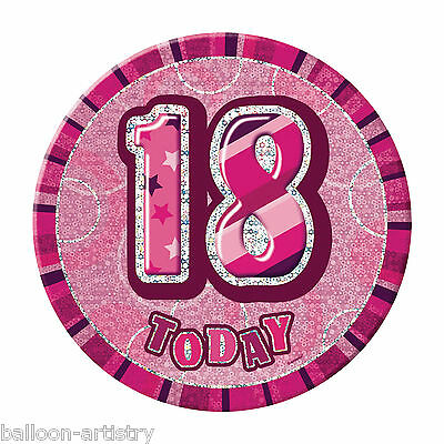 """6"""" PINK GLITZ Giant 18th Today Birthday Party Badge"""