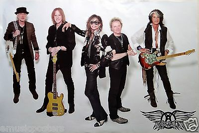 """Aerosmith """"group Standing With Three Guitars"""" Poster From Asia"""