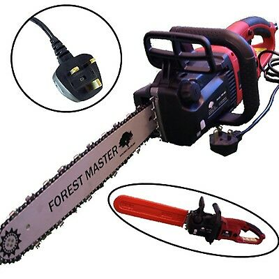 """ELECTRIC CHAINSAW 2500 WATT 16"""" BAR 220 240v CORDED SAW WITH 2 x CHAINS"""