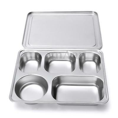 Eco Stainless Steel Food Divided Serving Plate Tray Lunch Dinner Dish & Cover