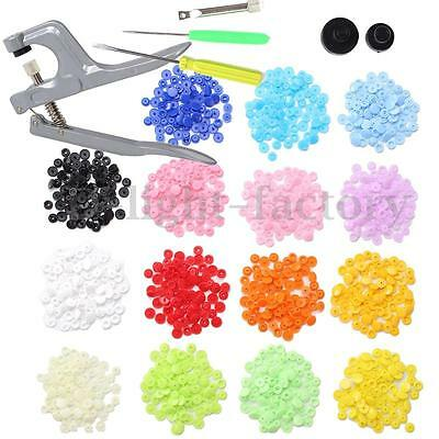 150 Sets Plastic Resin Fastener Snap Buttons T5 Pliers Press Stud Cloth Diaper