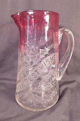 "Rare Victorian Rubina Engraved Water Pitcher W Holly Leaves ""with Best Wishes"""