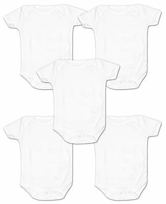 Baby Boys Girls Value Pack of 5 White Cotton Bodysuit Vests Newborn to 12 Months