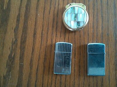 lot of 2 Zippo and Gold/Pearl Fisher Lighter