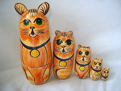 New Set Of 5 Painted Wooden Nesting Russian Dolls Cats (With Ears!) Cat 61213