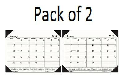"""Year 2018 Desk Pad Calendar Monthly House of Doolittle 17x22"""" Black Ink on White"""