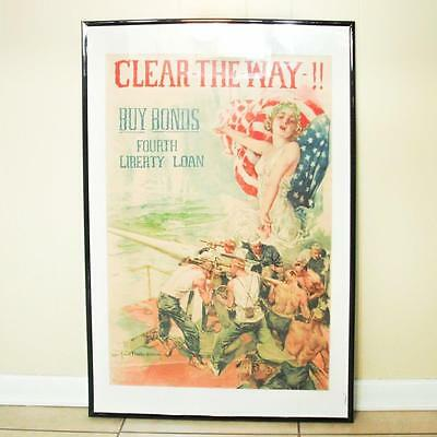 """Original WWI Buy Bonds Poster """"Clear The Way!!"""", Howard Christy, Antique Forbes"""