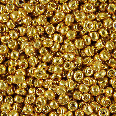 1KG Gold Metallic Round Hole Glass Seed Beads Size 6/0 4mm