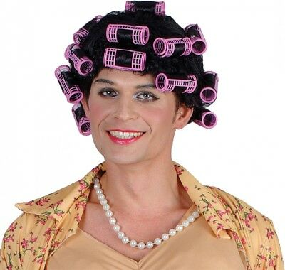 Funny Housewife Wig With Rollers Mens Novelty Stag Fancy Dress Wig
